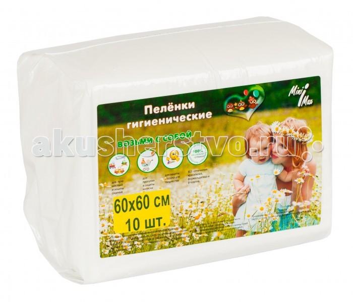 Одноразовые пеленки MiniMax Пеленки гигиенические 60х60 10 шт. minimax подгузники для взрослых размер m 10 шт