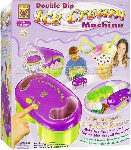 Creative Набор для творчества Фабрика мороженогоНабор для творчества Фабрика мороженогоCREATIVE 5392 Фабрика мороженого.  Приготовь мороженое Приготовь настоящее мороженое из кулинарных компонентов по рецептам, прилагающимся к набору. Умная машинка для изготовления мороженого поможет тебе в этом. Набор предназначен для детей в возрасте от 7 лет и более; число игроков – 1 и более; время игры - ±60 мин.  Внимание: Набор не рекомендуется для детей младше 3 лет из-за наличия мелких деталей. Рекомендуется, чтобы ребенок работал под наблюдением взрослых. Цвета и аксессуары могут отличаться от указанных на упаковке. Для включения машинки потребуются 4 батарейки типа АА – не содержатся в наборе. Кулинарные компоненты, необходимые для изготовления мороженого, не содержатся в наборе.  Предлагаемые рецепты мороженого: Внимание: готовое мороженое изделие каждый раз оставляй в морозильном отделении на 2 часа и вытаскивай из холодильника за 15 мин. До подачи.  Виноградно-мускатный щербет. Изготовь в кулинарном комбайне виноградную пасту Помести ее в миску, добавь сахарную пудру и перемешай Выжми лимонный сок и удали попавшие в него косточки, добавь в миску и перемешай Готовую смесь помести в машинку. Необходимые продукты: Виноград мускатный – 450 г лимон – 1 шт сахарная пудра – 150 г.  Лимонный щербет. Выжми сок апельсина и лимонов, перемешай Подогрей воду, раствори в ней сахарную пудру и добавь в выжатый сок Готовую смесь помести в машинку. Необходимые продукты: лимоны – 4 шт апельсин – 1 шт сахарная пудра – 200 г вода – 1,5 стакана.  Персиковый щербет. Изготовь в кулинарном комбайне персиковую пасту и помести ее в миску Выжми сок лимона и удали косточки Добавь лимонный сок в персиковую пасту и перемешай Подожди несколько минут – смесь должна охладиться Помести охлажденную смесь в машинку. Необходимые продукты: персики среднего размера – 4 шт. или 350 г персиковых консервов лимон – 1 шт. сахарная пудра – 200 г ода – 1,5 стакана.  Клубничный щербет. Очистить клубнику от листочков