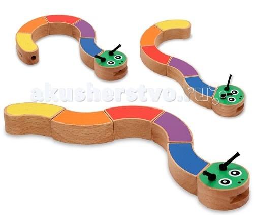 Деревянные игрушки Melissa & Doug Первые игрушки Цепь фигур Гусеница деревянные игрушки звери melissa & doug деревянные игрушки звери