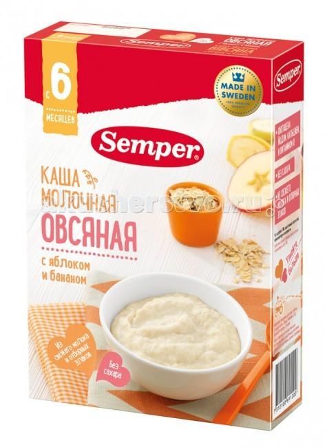 Каши Semper Молочная овсяная каша с яблоком и бананом с 6 мес 200 г каши semper молочная рисовая каша с бананом с 6 мес 200 г
