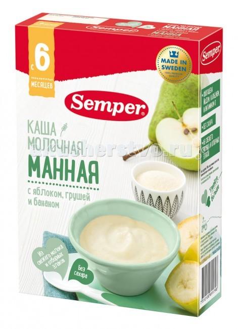 Каши Semper Молочная манная каша с яблоком, грушей и бананом с 6 мес. 200 г каша молочная semper овсяная с яблоком и бананом с 6 мес 200 г