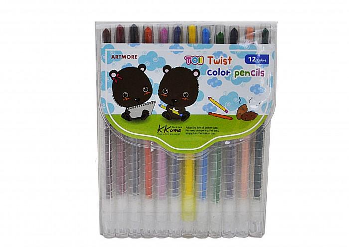 Карандаши, восковые мелки, пастель TOII Карандаши восковые цветные 12 цветов карандаши восковые мелки пастель спейс карандаши зверята 12 цветов