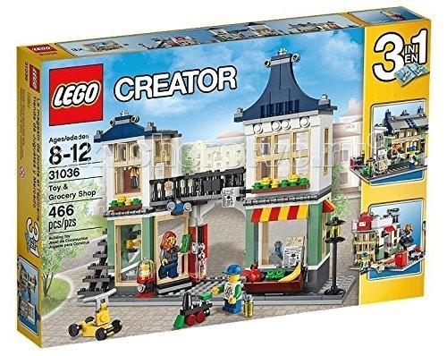 Конструктор Lego Creator 31036 Лего Криэйтор Магазин по продаже игрушек и продуктовCreator 31036 Лего Криэйтор Магазин по продаже игрушек и продуктовКонструктор Lego Creator 31036 Лего Криэйтор Магазин по продаже игрушек и продуктов собирается из 466 деталей.  Из этого набора LEGO Creator можно собрать 3 разных здания!  Открой мир приключений с этим захватывающим набором Магазин по продаже игрушек и продуктов!  В уютном продуктовом магазине продавай своим покупателям свежие фрукты и овощи, утренние газеты и вкусные напитки или зайди в соседний магазин игрушек, где продается классный робот!  Потом выгляни наружу, купи вкусное красное яблоко или испытай ярко окрашенный автомат по продаже жвачки!  Этот восхитительный универсам можно разложить, чтобы получить доступ к детально выполненному интерьеру, или можно сделать цветной фасад, выходящий на главную улицу, с двумя магазинами: магазином игрушек и продуктовым, каждый с собственной уникальной вывеской.   Балкон магазина по продаже игрушек и продуктов превращается в изящный соединительный мостик, связывающий 2 уютные квартиры на втором этаже.  Набор 3 в 1! Можно перестроить в почту или газетный киоск.  Добавь собственные творения из LEGO, чтобы продлить главную улицу!  В набор входит:  2 минифигурки Множество аксессуаров. Количество деталей: 466 шт.<br>