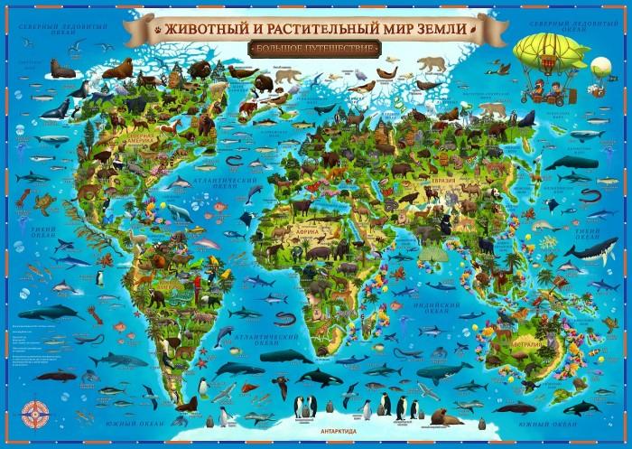 Атласы и карты Globen Карта Животный и растительный мир Земли для детей