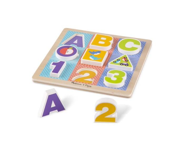 Купить Деревянные игрушки, Деревянная игрушка Melissa & Doug Мои первые пазлы Буквы и цифры