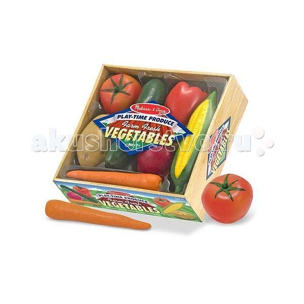 Деревянная игрушка Melissa &amp; Doug Готовь и играй набор овощейГотовь и играй набор овощейДеревянная игрушка Melissa & Doug Готовь и играй набор овощей - красочная, интересная и познавательная игрушка разбудит аппетит Вашего малыша, который наверняка, захочет попробовать настоящий вкус сочных плодов, поиграв однажды в эту игру!   В коробку аккуратно сложены 7 изготовленных из пластика овощей, которые имеют реальные размеры! Эта долговечная пластмассовая еда идеально дополнит игрушечную кухню или продовольственный магазин Вашего малыша.<br>
