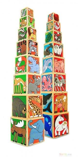 Деревянная игрушка Melissa &amp; Doug Деревянные кубики ЖивотныеДеревянные кубики ЖивотныеДеревянная игрушка Melissa & Doug Деревянные кубики Животные - с рисунками различных животных, обязательно понравятся Вашему ребенку.   Из них можно построить пирамиду высотой более 80 см или сложить их один в один. Также из-за сложения кубиков друг в друга становится более удобнее их хранить.   Все изображения делятся на 4 группы:   жители леса - зеленый фон  африканские животные - коричневый фон морские обитатели - синий фон домашние фермерские животные - красный фон.  С помощью этих кубиков, Ваш малыш, познакомится с самыми разными животными нашей планеты и и их средой обитания, а также получит массу удовольствия от игры в них.<br>