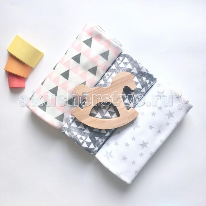 Постельные принадлежности , Пеленки MamaPapa Треугольники для девочки/Треугольники меланж/Звезды 120х85 см 3 шт. арт: 468776 -  Пеленки