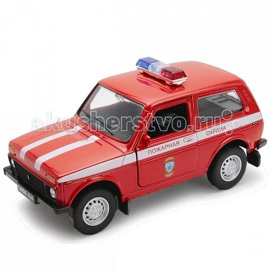 Машины Welly Модель машины 1:34-39 Lada 4x4 Пожарная охрана 42386FS welly welly модель машины газель пожарная охрана