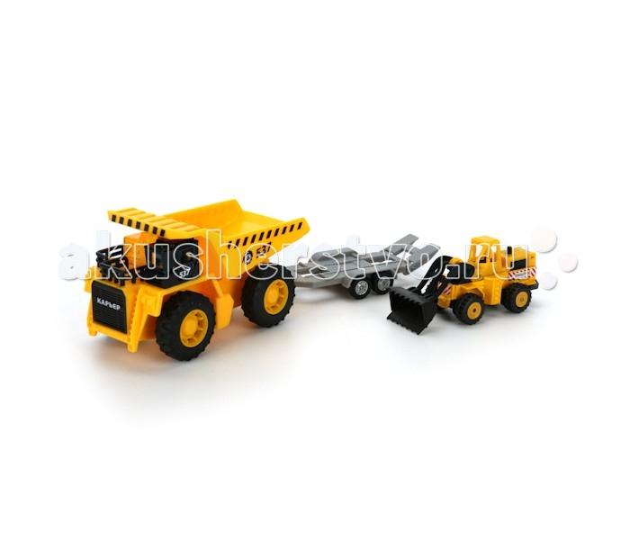 Машины Технопарк Набор стройтехники карьерный самосвал и бульдозер на тележке welly машина карьерный самосвал