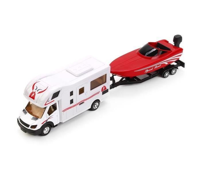 Купить Машины, Технопарк Металлическая инерционная модель Кэмпер с катером на прицепе