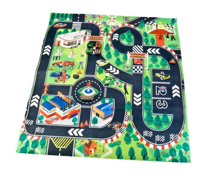 Фото - Игровые коврики Технопарк с дорожными знаками и двумя металлическими машинками бульдозер технопарк с дорожными знаками u1408a 4 12 5 см оранжевый