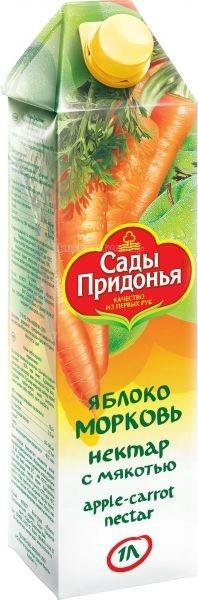 Соки и напитки Сады Придонья Сок яблоко морковь с 3 лет 1 л нектар удачный яблочно облепиховый неосветленный 1 л