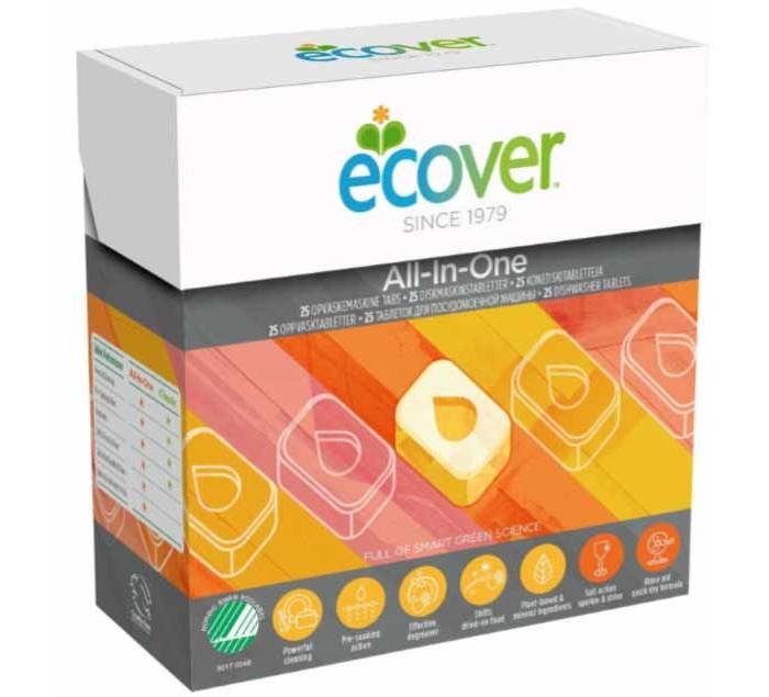 Бытовая химия Ecover Таблетки для посудомоечной машины 3 в 1 1.3 кг бытовая химия xaax ополаскиватель для посудомоечной машины 500 мл