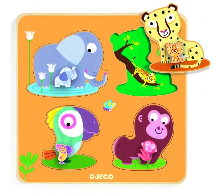 Деревянные игрушки Djeco Рамка-вкладыш Мамы джунглей djeco обучающая игра бинго времена года