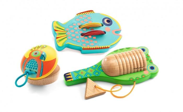Деревянная игрушка Djeco Комплект музыкальных инструментов: кастаньет, гуиро, кимвал