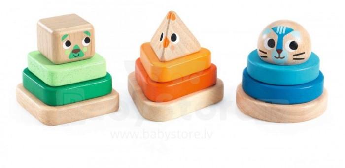крона пирамидки девочки припевочки Деревянные игрушки Djeco Пирамидки Животные-мини 3 шт.
