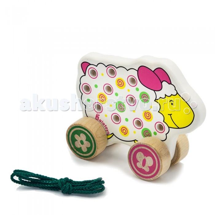 Деревянные игрушки Alatoys Шнуровка-каталка Овца деревянные игрушки alatoys пазлы собачки