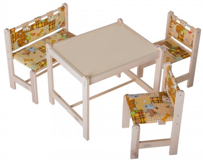 Гном Набор мебели Малыш-4Набор мебели Малыш-4Набор мебели игровой Гном Maлыш-4 - состоит из стола, двух стульчиков и скамейки.   Он яркий и красочный. Такой набор подходит для детей от года и старше, им можно пользоваться как дома, так и в дошкольных учреждениях. За столиком можно рисовать, играть, принимать пищу, заниматься и учится.   За набором легко ухаживать и держать его в чистоте и порядке. Организовав деткам рабочую и игровую зону, вы уже с ранних лет приучите ребенка к правильной посадке за партой и усидчивости.  Столешница: Крашенный МДФ с аппликацией Размер столешницы:52x62 см Высота до плоскости столешницы: 52 см Высота (стула и скамьи) по сидению:30 см Допустимая нагрузка на сидение: не более 30 кг Вес в упаковке: 11 кг Размеры упаковки: 61х53х17 см Материал массив березы. Непромокаемая ткань.   Внимание! Цвета в ассортименте.<br>