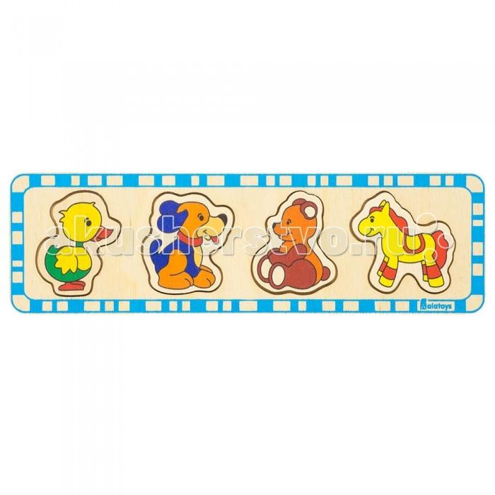 Деревянные игрушки Alatoys Пазлы медведь утка лошадь собака пазлы бомик мозаика собака 104