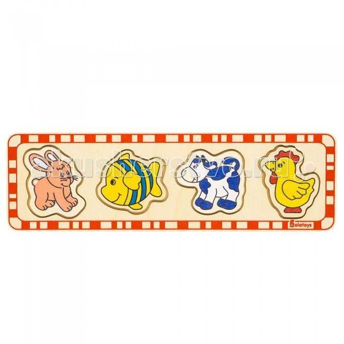 Деревянные игрушки Alatoys Пазлы заяц рыба корова петух