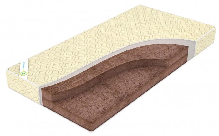Матрас Монис Стиль Кокос Классик 120х60х10Кокос Классик 120х60х10Детский матрас Кокос Классик 120х60 на растительной основе (кокосовое волокно).  Основа: кокосовая плита (50% кокос, 50% нетканое волокно). Синтепон. Чехол на молнии: ткань бязь 100% хлопок  Нетканое волокно - экологически чистый и нетоксичный материал, не впитывает влагу и запахи, не содержит дополнительных веществ (клея и прочих), не поддерживает горения, обеспечивает длительную эксплуатацию, обеспечивает большой теплозащитный эффект, прекрасно сохраняет свою форму и легко восстанавливается при любой деформации и стирке. Самым главным достоинством нетканого волокна, важным для медицины, является возможность обработки его в дезинфекционной камере при высоких температурах, обработке паром, водой. Оно долговечно, неприхотливо в использовании, имеет небольшой вес.  Кокосовое волокно (койра) - это жесткий наполнитель, получаемый из очесов кокосового ореха. В матрасах используются плиты, у которых кокосовые волокна скреплены латексным клеем. Исключительные свойства кокосового волокна - прочность, упругость, гигиеничность, гипоаллергенность, материал не впитывает влагу и хорошо проветривается.<br>