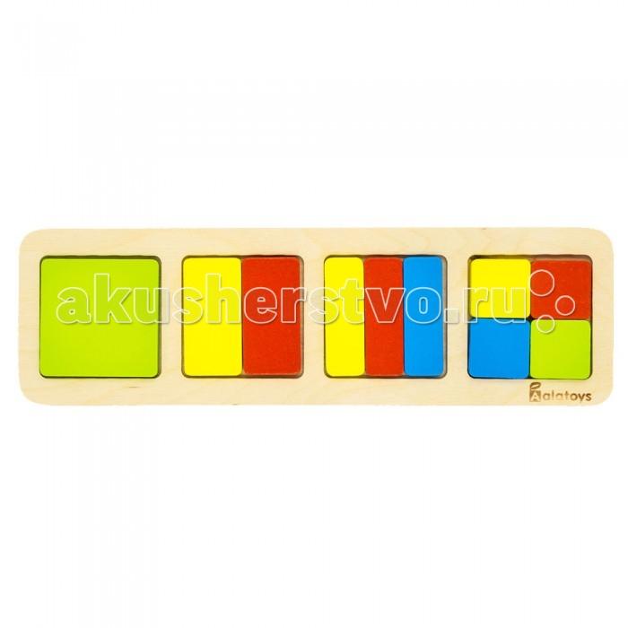Деревянные игрушки Alatoys Пазлы Дроби-квадраты