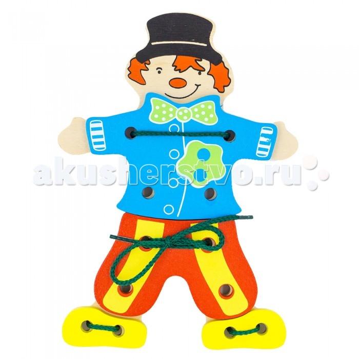 Деревянные игрушки Alatoys Шнуровка Клоун деревянные игрушки alatoys пазлы собачки