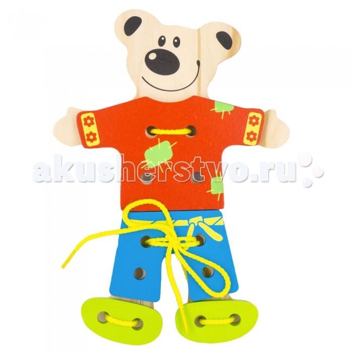 Деревянные игрушки Alatoys Шнуровка Медведь деревянные игрушки alatoys пазлы собачки