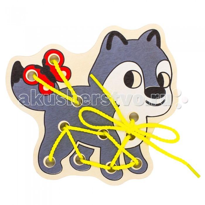 Деревянные игрушки Alatoys Шнуровка Волк деревянные игрушки alatoys пазлы собачки