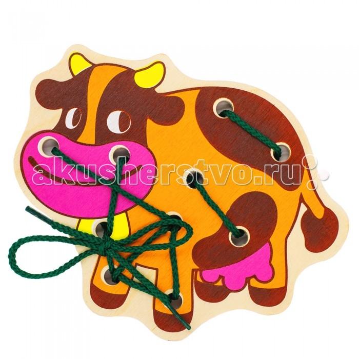 Деревянные игрушки Alatoys Шнуровка Корова ШН05 деревянные игрушки alatoys пазлы собачки