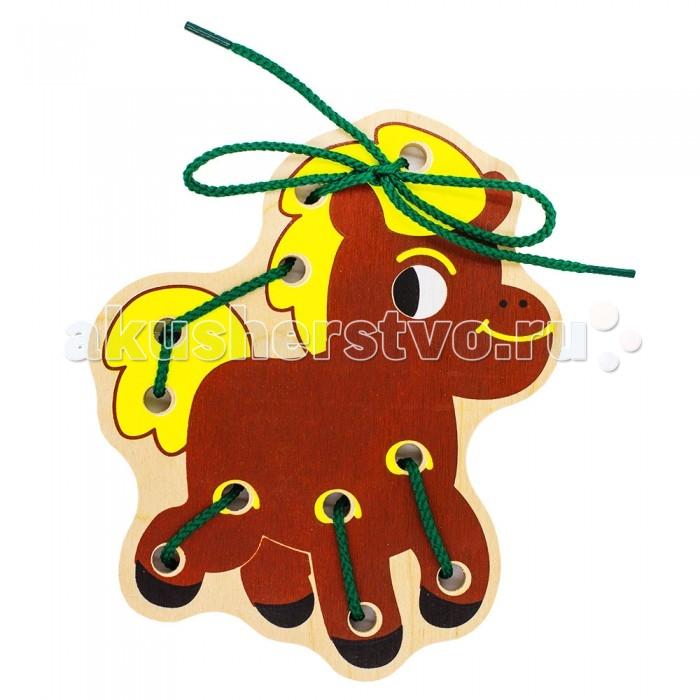 Деревянные игрушки Alatoys Шнуровка Лошадь деревянные игрушки alatoys пазлы собачки
