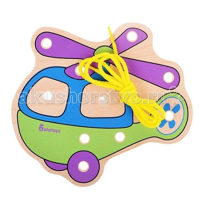 Деревянные игрушки Alatoys Шнуровка Вертолёт деревянные игрушки alatoys пазлы собачки