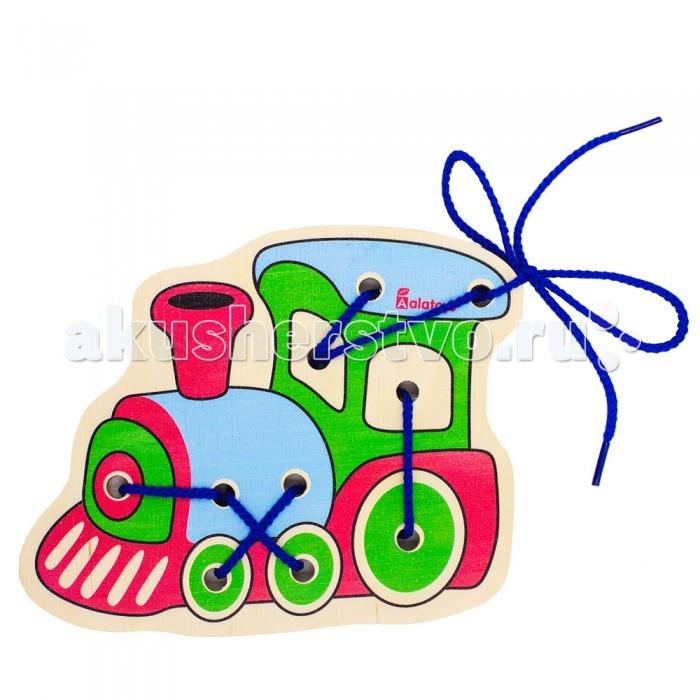 Деревянные игрушки Alatoys Шнуровка Паровоз ШН41 деревянные игрушки alatoys пазлы собачки