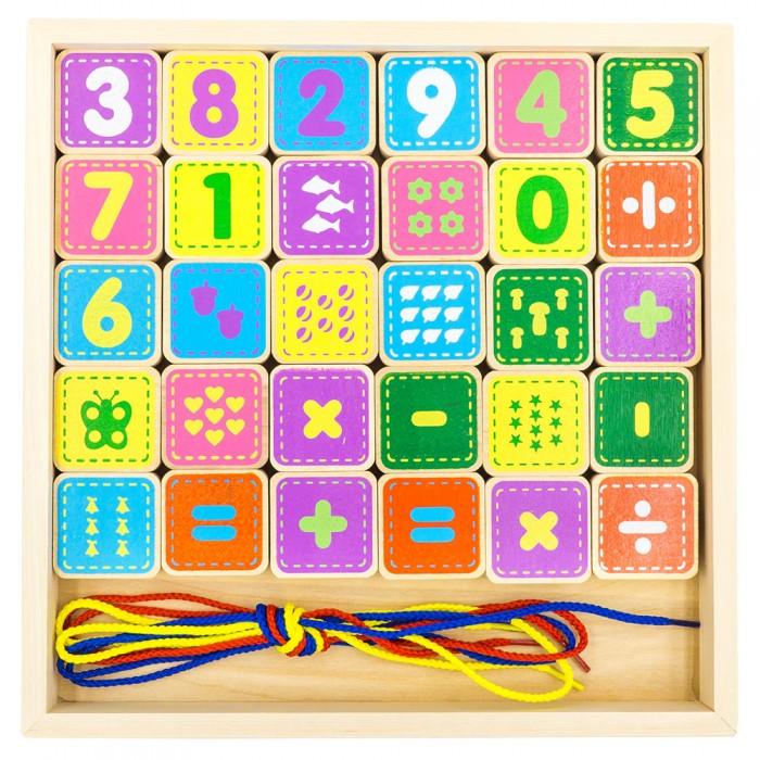 Деревянная игрушка Alatoys Шнуровка цифры 30 деталей