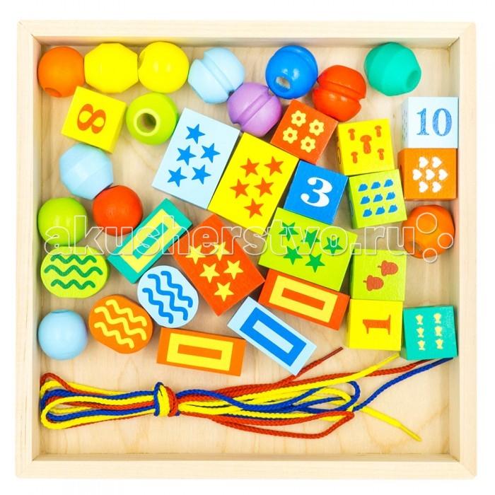 Деревянные игрушки Alatoys Конструктор шнуровочка 35 деталей