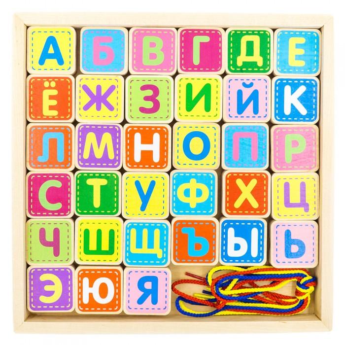 Деревянная игрушка Alatoys Шнуровка азбука 33 детали