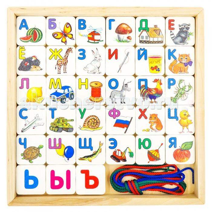 Деревянная игрушка Alatoys Шнуровка азбука 33 детали КША3301