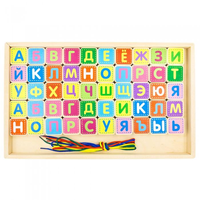 Деревянные игрушки Alatoys Шнуровка азбука 50 деталей деревянные игрушки престиж игрушка кубики азбука 30 деталей