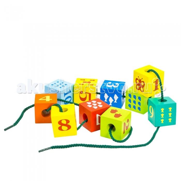 Деревянные игрушки Alatoys Шнуровка Кубики с печатью деревянные игрушки alatoys пазлы собачки