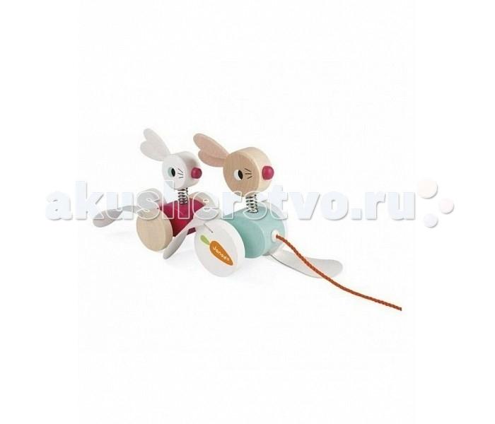 Деревянные игрушки Janod Каталка на веревочке Зайчики