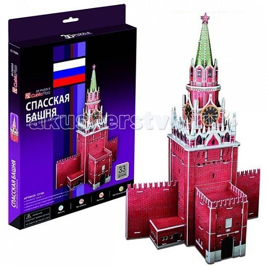 Конструкторы CubicFun 3D пазл Спасская башня (Россия) cubicfun 3d пазл эйфелева башня 2 франция cubicfun 33 детали