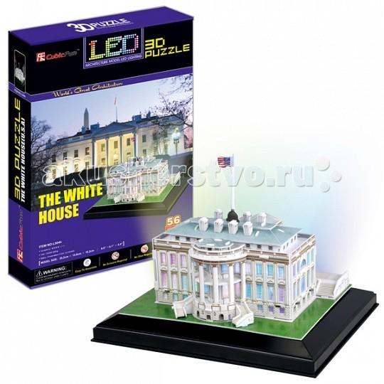 Конструкторы CubicFun 3D пазл Белый дом с иллюминацией (США) конструкторы cubicfun 3d пазл эйфелева башня франция