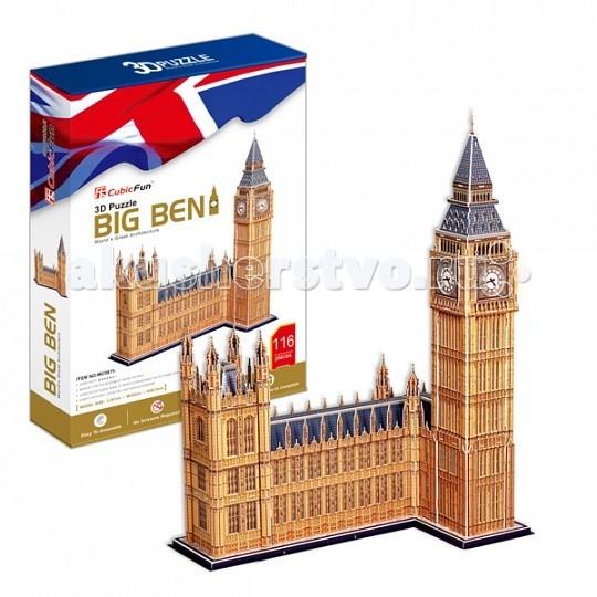 Конструктор CubicFun 3D пазл Биг Бен (Великобритания) MC087h3D пазл Биг Бен (Великобритания) MC087hCubicFun 3D пазл Биг Бен (Великобритания) MC087h.  Биг-Бен — колокольная башня в Лондоне. Официальное наименование — «Часовая башня Вестминстерского дворца», также её называют «Башней Св. Стефана». Башня была возведена в 1858 году, башенные часы были пущены в ход 21 мая 1859 года.   Высота башни 61 метр (не считая шпиля); часы располагаются на высоте 55 м от земли. При диаметре циферблата в 7 метров и длиной стрелок в 2,7 и 4,2 метра, часы долгое время считались самыми большими в мире.   Биг-Бен стал одним из самых узнаваемых символов Великобритании, часто используемым в рекламе, фильмах и т. п.   Уровень сложности - 6.   Функции: - помогает в развитии логики и творческих способностей ребенка - помогает в формировании мышления, речи, внимания, восприятия и воображения - развивает моторику рук - расширяет кругозор ребенка и стимулирует к познанию новой информации.  Практические характеристики: - обучающая, яркая и реалистичная модель - идеально и легко собирается без инструментов - увлекательный игровой процесс - тематический ассортимент - новый качественный материал (ламинированный пенокартон).<br>