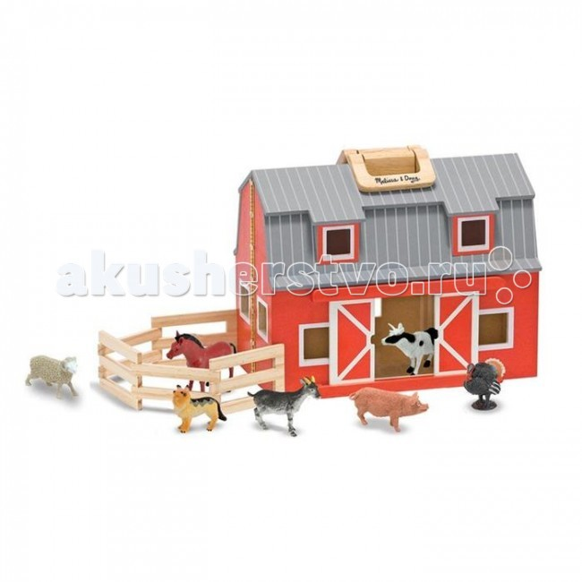 Деревянная игрушка Melissa &amp; Doug Создай свой мир Загон и амбарСоздай свой мир Загон и амбарMelissa & Doug Создай свой мир Загон и амбар - настоящая ферма с животными, живущими на ней (свинка, индейка, собака, лошадка и т.д.) Все фигурки животных и ферма изготовлены из дерева.   Этот кукольный домик удобен для переноски благодаря наличию специальных ручек и складной конструкции. Домик раскладывается на две части, по два этажа в каждой.  В набор входит 7 игрушек.   Все фигурки животных и ферма изготовлены из дерева. У сарая раздвигаются двери и раскладывающийся забор.<br>