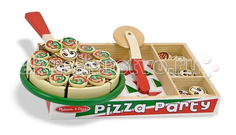 Деревянная игрушка Melissa &amp; Doug Готовь и играй Вечеринка с пиццейГотовь и играй Вечеринка с пиццейДеревянная игрушка Melissa & Doug Готовь и играй Вечеринка с пиццей - оригинальный и прочный деревянный набор с шестью частями в виде кусков пиццы на ярком цветном подносе.   В комплекте:  резец  лопаточка для пиццы более 50 начинок, аккуратно хранящихся в деревянной коробке.   Когда вы режете пиццу, раздается характерный режущий звук!  Эта игрушка необычная, ведь кроме того, что кусочки пиццы можно складывать друг к другу - с ними можно играться в своих ролевых играх, угощать родственников, даже открыть маленькую пиццерию.  В качестве развивающей игры, это универсальный подарок, так как Ваш малыш сможет придумать множество затейливых ситуаций, которые станут сюжетами для игры, от пиццерии, до домашней готовки.   Игрушка пицца больше предназначена для девочек, но многие мальчишки рады будут поиграть в хозяина ресторана или шеф-повара. Сделайте Вашему ребенку приятный и красивый подарок, который долго будет забавлять его самого и его друзей. Создайте свою собственную пиццу с помощью этого набора.  Игрушка безопасна, острых краев, мелких деталей нет, кусочки приправ: грибов и колбасы, прикрепляются надежно.<br>