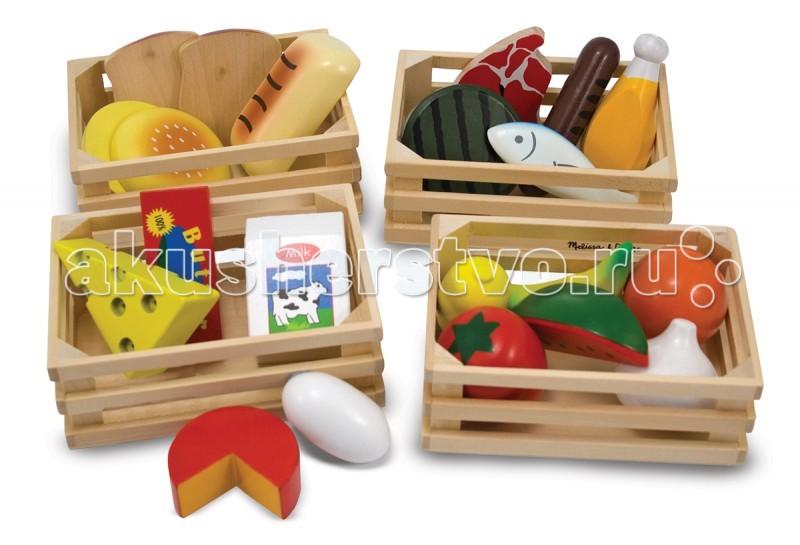 Деревянная игрушка Melissa &amp; Doug Готовь и играй Набор продуктовГотовь и играй Набор продуктовДеревянная игрушка Melissa & Doug Готовь и играй Набор продуктов - содержит множество различных продуктов, разделенных по категориям: молочная продукция, мясо-рыба, выпечка, фрукты-овощи.  В четырех небольших ящичках находятся:  хлебобулочные изделия - батон, хлеб, булочка молочные продукты - масло, сыр двух видов, молоко овощи, фрукты - лимон, банан, помидор, ломтик арбуза, апельсин, чеснок мясные продукты - котлета, сосиска-гриль, окорок, кусок мяса, рыба.  Всего 21 деталь из натурального дерева.<br>