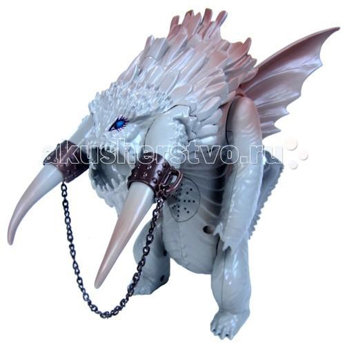 Dragons Игрушка Большой ледяной драконИгрушка Большой ледяной драконБольшой ледяной дракон (Bewilderbeast) – главный противник героя Иккинга и его друзей в мультфильме Как приручить дракона 2. Устрой свою эпическую битву с чудовищем!  Высота дракона – 35 см, у него огромные бивни, крылья и хвост.  Чудовище издает разные устрашающие звуки – рычит, топает, со свистом выпускает ледяные стрелы.   На спине между крыльев дракона находится ручка, с помощью которой им можно управлять.  По нажатию одной кнопки, из раскрытой пасти вылетает смертоносная ледяная стрела, другой кнопкой можно заставить дракона угрожающе поднять голову с бивнями и передние лапы.  В набор также входит маленькая эксклюзивная фигурка Беззубика – дракончик всего 5 см длиной и по сравнению с ним Бевилдербист выглядит действительно огромным.  В комплект входит:  1 ледяной дракон 1 эксклюзивная фигурка дракона Беззубика.  Требуются 3 батарейки AG13 (LR44).  В комплект не входят.<br>