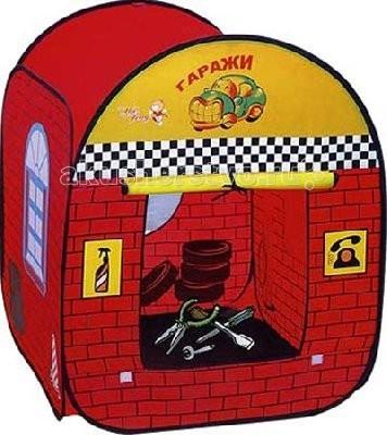 Игралия Палатка Домик-гаражПалатка Домик-гаражПалатка Домик-гараж - такая палатка особенно понравится мальчишкам! Палатка в момент готова к игре, благодаря пружинному самораскладывающемуся каркасу. Одновременно играть могут несколько ребятишек.  Очень простая установка – палатка сама разворачивается (за счет каркаса-спирали).  Для жесткости формы сверху в специальный длинный кармашек на липучке вставляется пластиковая трубочка.  С двух сторон входы с пологами, закрывающимися снизу на липучки.  В открытом состоянии они сворачиваются и подвязываются сверху, третья сторона с нарисованным окошком, четвертая - фасад ГАРАЖА. Есть днище.  Схема сборки в изначальное состояние приведена на упаковке.  В сложенном виде занимает очень мало места, компактна для переноски и хранения (упаковка - сумочка на молнии, с 2 ручками).   Яркий домик будет чудесным местом для самостоятельной игры ребенка, а также отлично подойдет для сюжетно-ролевых игр.   Одновременно играть могут несколько ребятишек.  Материал: нейлон Размер в собранном виде: 77 х 78 х 95 см<br>