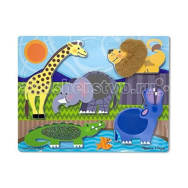 Пазлы Melissa & Doug Мои первые пазлы Потрогай и почувствуй Зоопарк 5 элементов мои первые пазлы melissa